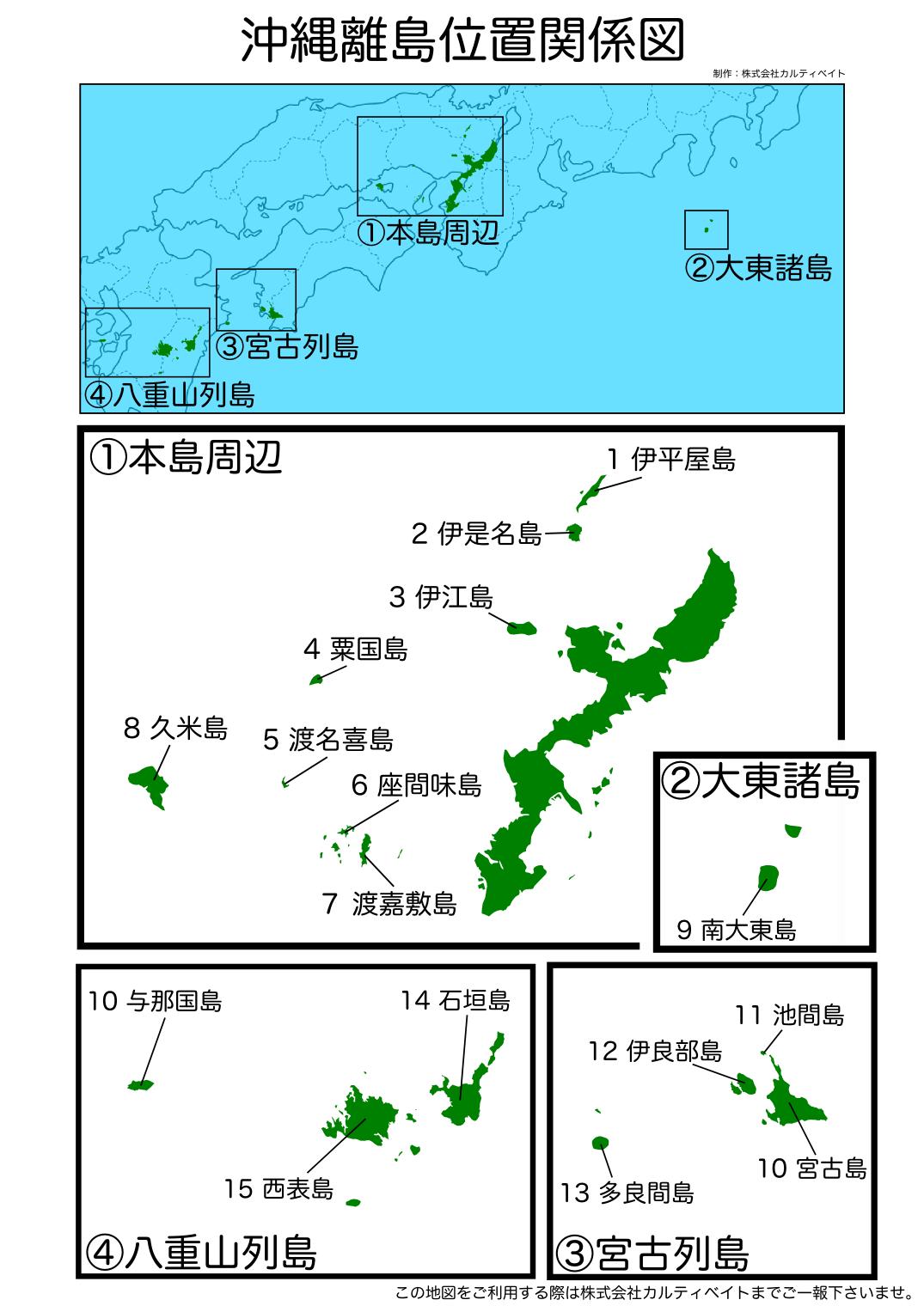 沖縄 離島 位置関係図 株式会社カルティベイト